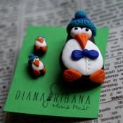 brosa si cercei in forma de pinguin